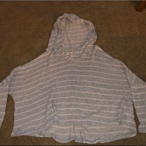 Hollister grey long sleeve with white stripes.